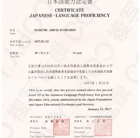 The Japanese-Language Proficiency Test (JLPT) Certyfikat N5